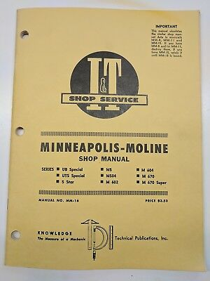 Minneapolis Moline Ub Uts Special 5 Star M5 M504 M 602 604 670 Super Manual Shop