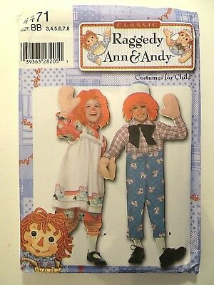 OOP SIMPLICITY 4471 Child  SIZE 3-8 RAGGEDY ANN & ANDY COSTUMES SEWING - Andy Costumes
