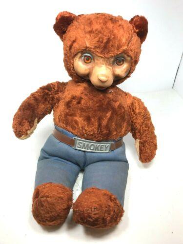 Vintage Ideal Smokey The Bear Rubber Face Plush Doll Stuffed Animal