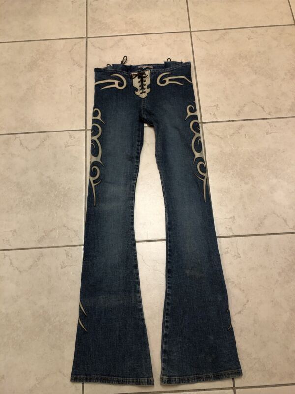 Electric Barbarella Bell Bottom Jeans Size 4 Leather Applique & Lace Up Preowned