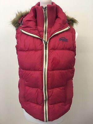 Superdry Womens Gilet Pink Medium 10-12 Winter Zip Up Warm Faux Fur Hood
