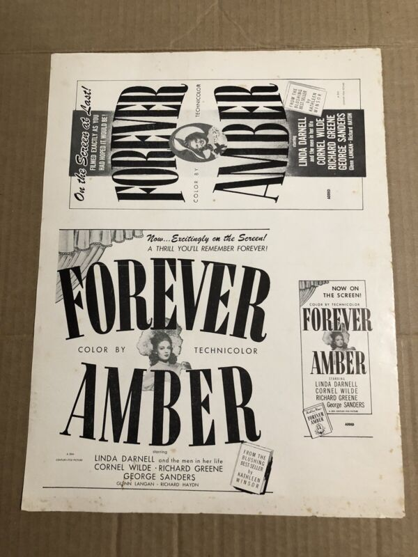 FOREVER AMBER - Vintage 1947 Press Kit Ad Advertising Supplement Page