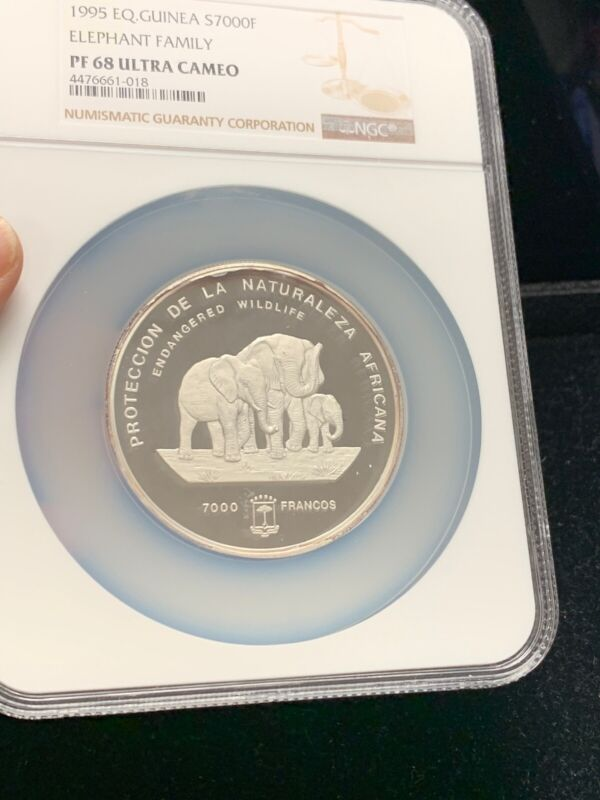 1995 EQ. Guinea S70000F Elephant Family NGC PF 68 Ultra Cameo Highest Pop