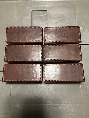 Brown Leather Desktop Business Card Holder 6 Pieces