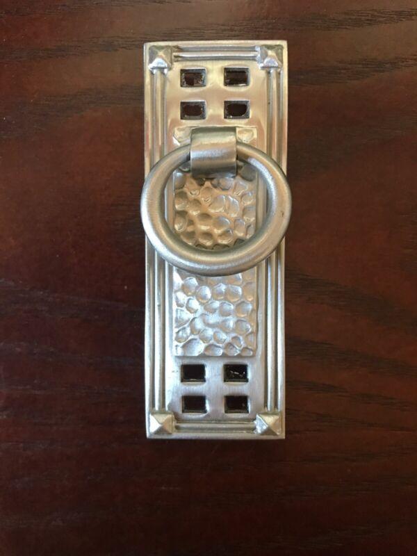 Emtek 86042 Hammered Verticle Ring Pull 1-1/4 X 3-1/2 Satin Nickel 1-1/2 Centers