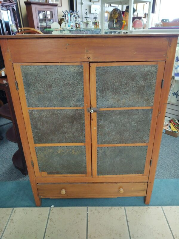 Antique Wood Pie Safe Cabinet 12 Punched Tin Panels & Drawer Country Primitive