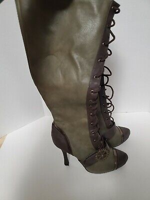 Ellie 420-Quinley Steampunk Cosplay Boots Green Brown Lace-Up Zip-Up Women's 9