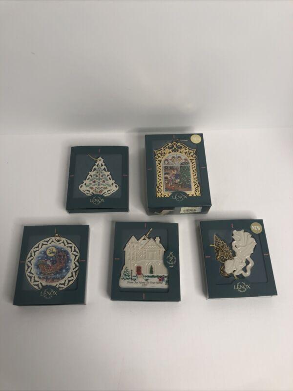 LOT of 5 Vintage Lenox Christmas Ornaments MIB
