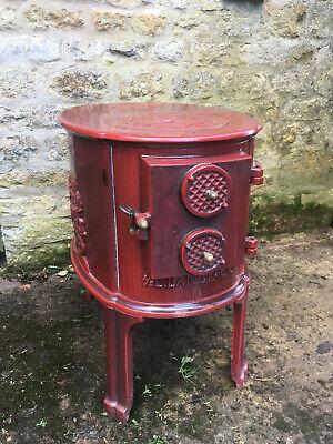 L Lange & Co red enamel cast iron vintage WOOD BURNING STOVE