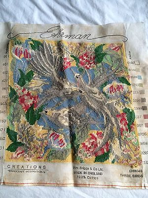VINTAGE EHRMAN 3 Lovely BIRDS Completed CUSHION COVER  ? Tapestry
