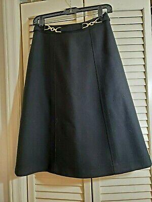 Vintage 1970's Black ROBERT CLARENCE 100% wool A Line Skirt Sz XS