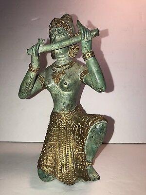 ANTIQUE/VINTAGE THAI GODDESS wFLUTE GREEN BRONZE FIGURINE STATUE ~ GOLD GILT