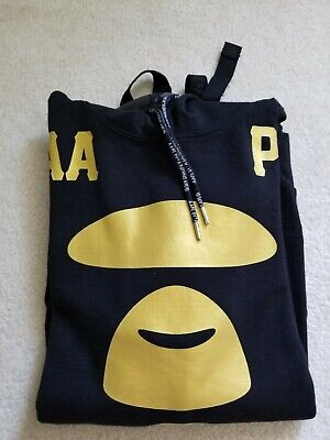 New Aape by A Bathing Ape long sleeve hoody Black & Gold Size M Men, used for sale  Shipping to India