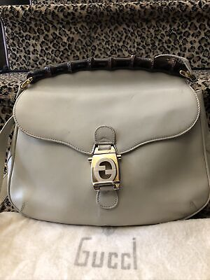 Gucci Vintage 80s Cream Leather Bamboo Frame Flap Bag Gold Silver Logo Dust Bag