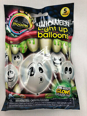 White Light Up Balloons (Illooms Led Light Up Glow Halloween Party Favors Balloons White Ghost - 5)