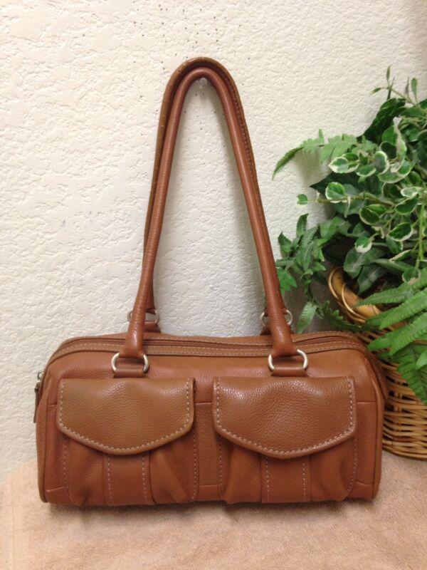 Fossil Vintage Brown Pebble Leather Shoulder Handbag Satchel Bag