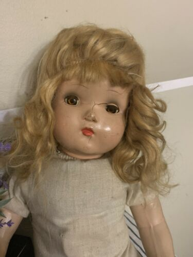 A HORSMAN DOLL VERY OLD NEEDS TLC 20 COMPOSITION BROWN EYE GIRL Sleepy Chest - $19.99