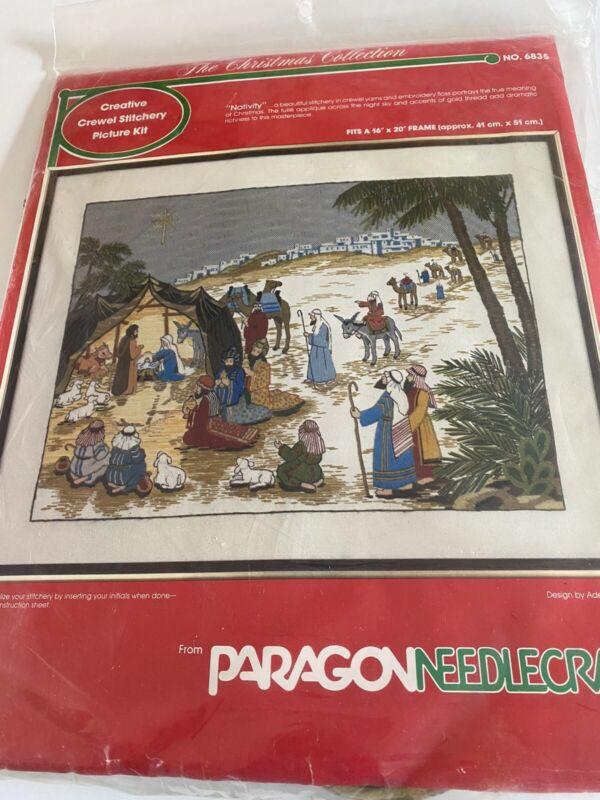 VTG Paragon Crewel Stitchery Christmas Nativity #6835