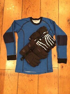 Black Hestra ski gloves. Age 10-11 + spare gloves (H&M) + blue Helly Hansen skin