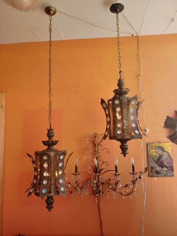 Pair of Large Antique Ornate Ormolu  Hanging lamp  lamp with jewelled prisms