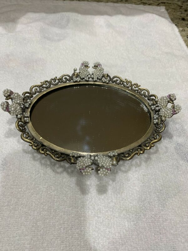 Vintage Spoontiques Vanity Mirror With Poodles