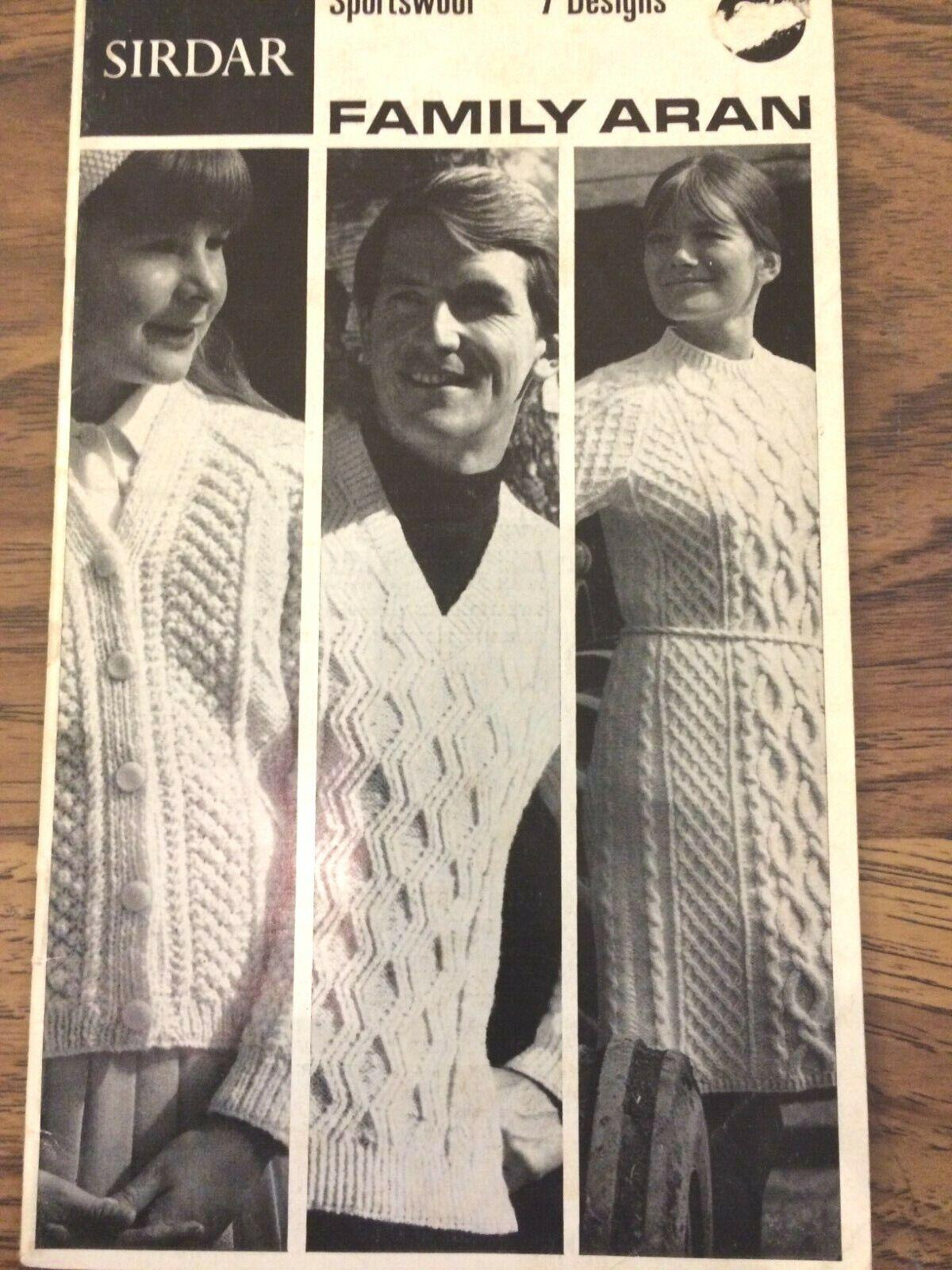 Sirdar Family ARAN Knitting Vintage Pattern Book 7 Designs 36 Pages 1967 Lot716 - $5.00