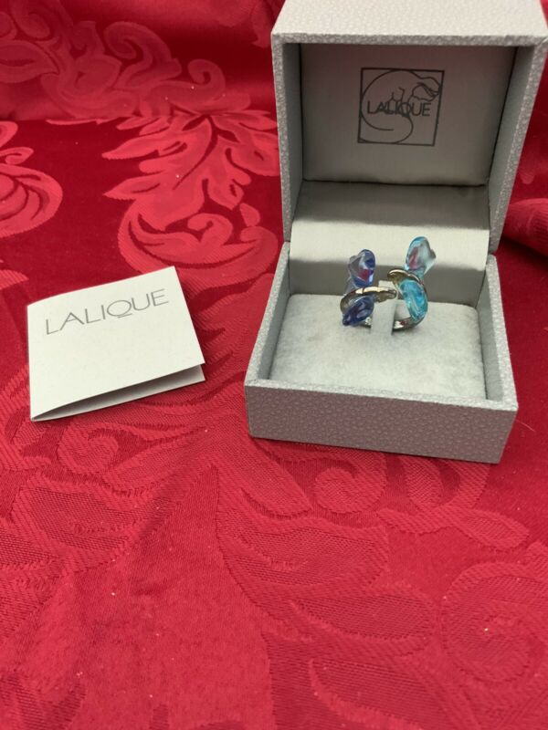 NIB FLAWLESS Stunning LALIQUE France Glass Blue Aqua DUO BUTTERFLY Crystal RING