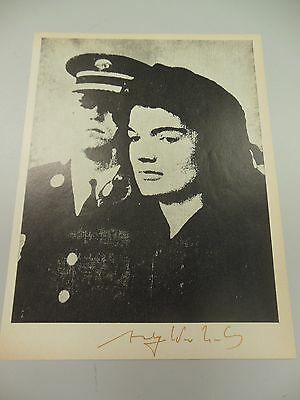 """ANDY WARHOL HAND SIGNED SPECIAL PRINT IN COPPER-RED PEN """"JACKIE""""  1966 WITH COA"""