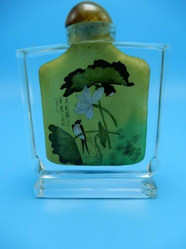 Chinese Opium Snuff Bottle Reverse Painted Crystal Swallow and Flowers 4 Inch