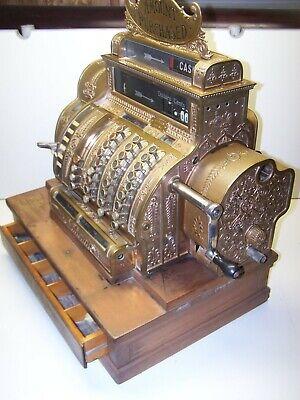 1920 Antique National Brass Cash Register - Vintage w/Keys Model 562-N-E