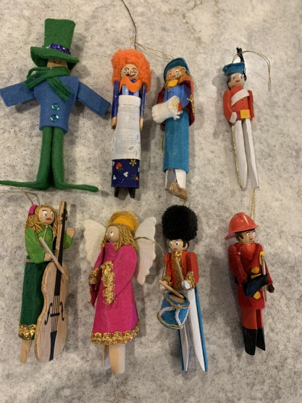 Vintage Wood Clothespin Christmas Ornaments Lot Of 8