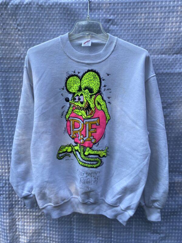 Vintage 1990 SIGNED BY BIG DADDY ROTH! Rat Fink Crewneck Sweatshirt