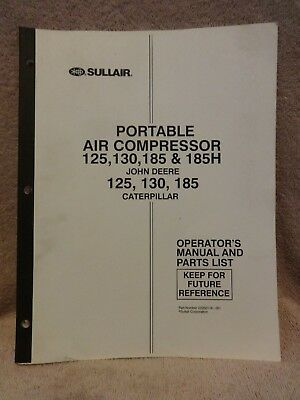 Sullair Portable Air Compressor 125130185185hjohn Deere125130185 Cat Book