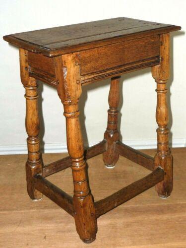 Fine Original 17th Century Oak Joint Stool c1650