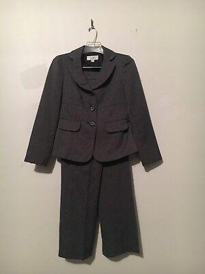 LE SUIT 2 Piece Gray Tweed Pant Suit Formal Women Size 4P Stylish Modern Cut