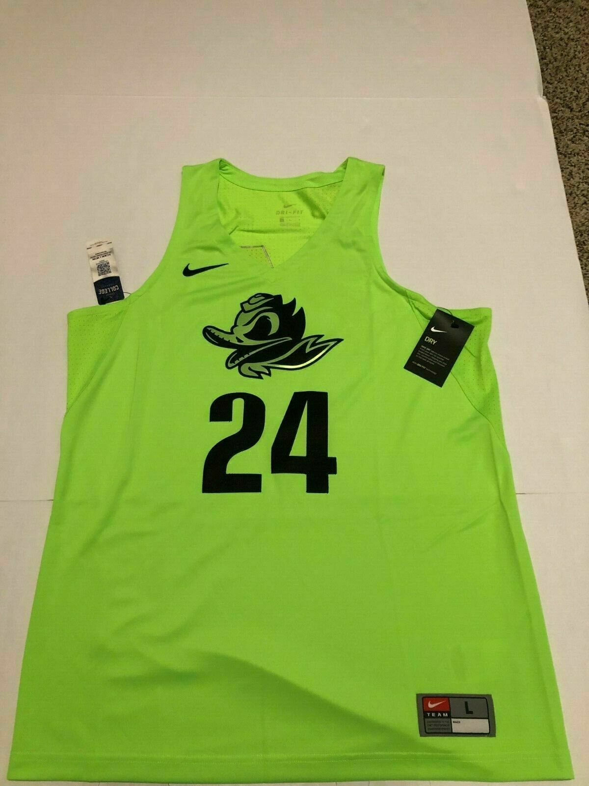 big sale 9fe5c 2bc3c Nike Oregon Ducks Basketball Jersey Stitched #24 Authentic Fighting Duck Sz  L