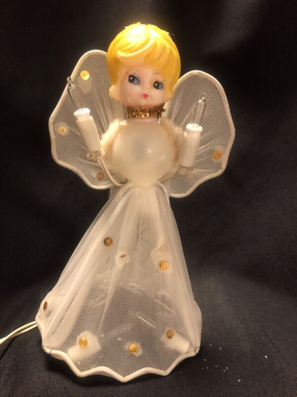 Vintage Christmas Tree Topper Blonde Angel Tulle Dress & Wings Lighted Works!