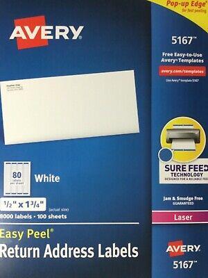 Avery Easy Peel White Return Address Labels 5167 Laser 80 Per Sheet 400 Labels