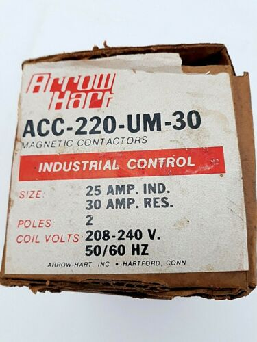 Arrow Hart ACC220UM30 Magnetic Contactor 25 amp, Pole 2, 208-240V, New Old Stock