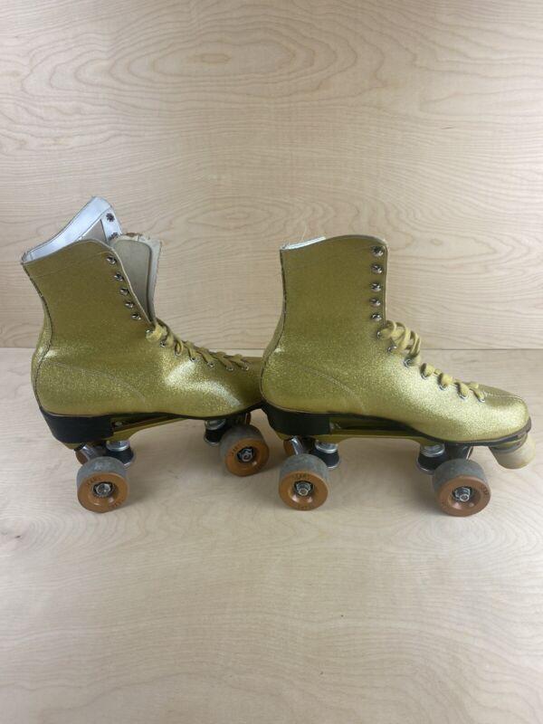 Vintage 1970's Sears Gold Glitter Disco Roller Skates Womens Size 9