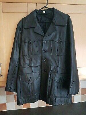 "Black Genuine Leather Mens Jacket / Coat, Good Condition, Size Uk 48"" Chest"