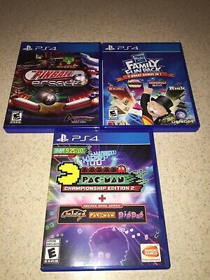 PS4 Lot Of 3 Games ARCADE GAMES HASBRO FAMILY, PINBALL, PAC-MAN CHAMPIONSHIP PS4