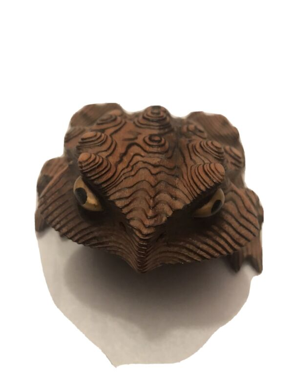 Vintage Cryptomeria Hand Carved Wood Toad Japan Figurine Frog Mid-Century