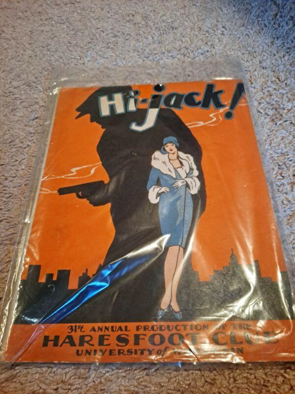 1929 Hi-Jack! Haresfoot Club of University of Wisconsin Show Book