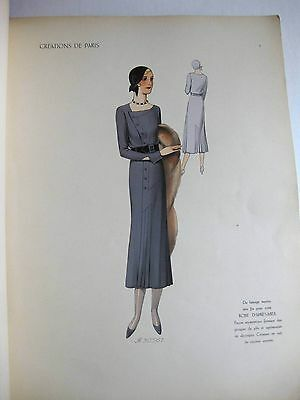 Stunning and Rare 1931 French Art Deco Fashion Design Book 40 Models