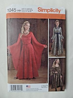 SIMPLICITY PATTERN 1045 MEDIEVAL GOWN DRESSES COSTUME SIZES 6 8 10 12  UNCUT
