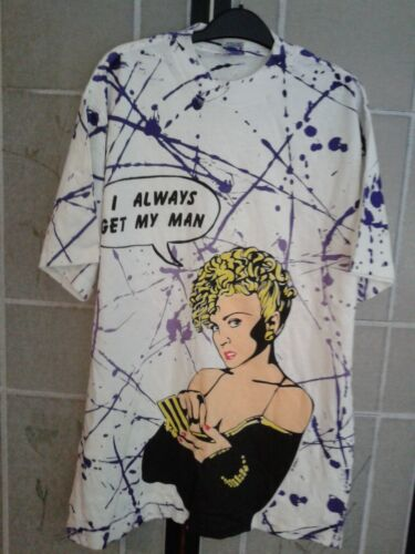 VINTAGE MADONNA OFFICIAL BREATHLESS T-SHIRT I ALWAYS GET MY MAN DICK TRACY 1990