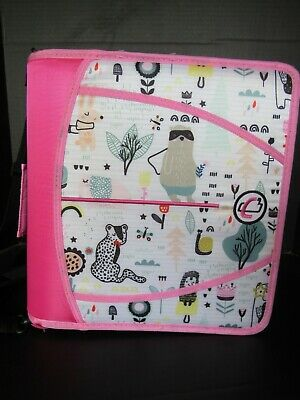 Case It The Mighty Zip Tab 3 Ring Binder 3 Notebook School Pinkwhite Animals