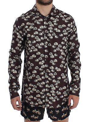NWT DOLCE & GABBANA Purple Hedgehog SILK Pajama Shirt Sleepwear IT4/ US S