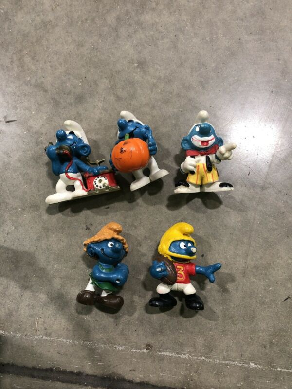 Vintage Lot Of 5 Smurf PVC Figures Peyo Schleich Smurfs Figurine Clown Witch